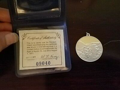 1971 Franklin Mint Sterling Silver Apollo 15 Eyewitness Pendant-Charm Coin COA