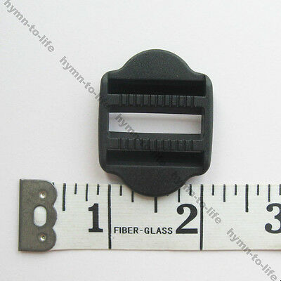 "100 pcs 1"" Black Plastic Webbing Ladderlock Two-way adjustable M446-25-100"