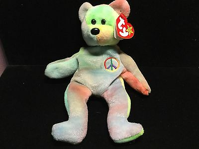 Ty Beanie Baby Peace bear style 4053 1996 PVC Pellets blue green NWT OLD FACE