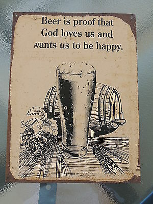 Old Metal Sign Concerning Beer - Lot's Of Character