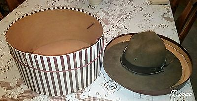 Vintage Collectible Boy Scouts Brown Hat W/ Chin Strap And Original Box