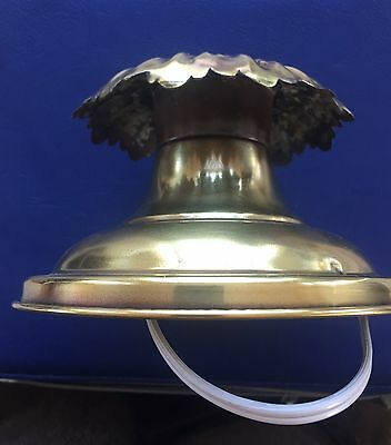 Vintage Brass Flush Mount Ceiling Light Fixture Round Holes for Prisms-Restored