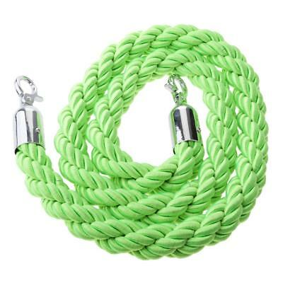 Green Queue Rope Barrier Twisted Rope Crowd Control with Silver Ends 1.5m