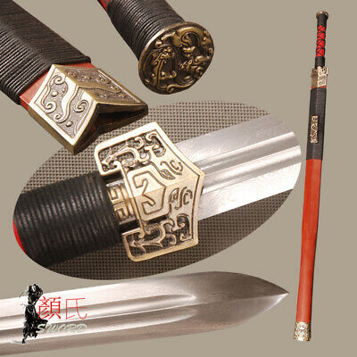 Handmade Chinese Sword Han Dynasty Jian Folded Steel Sharp Blade Redwood Saya