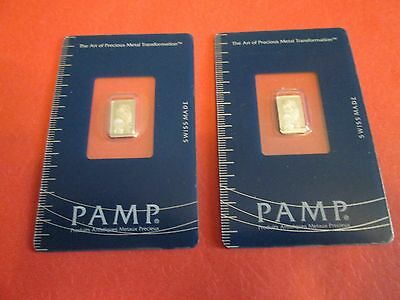 Lot of two consecutive 1 gram Pamp Suisse Platinum Bars In Assays
