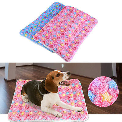 Pet Mat Dog Cat Fleece Blanket Bed Soft Cushion Kennel Cage Pad House Washable H