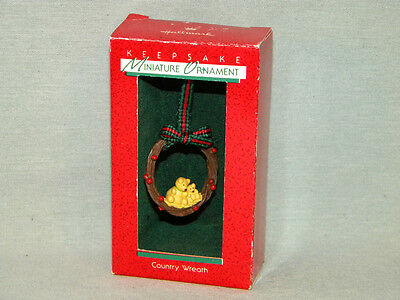 Country Wreath 1988 MIB Hallmark Miniature Christmas Ornament