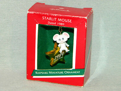 Starlit Mouse 1989 MIB Hallmark Miniature Christmas Ornament
