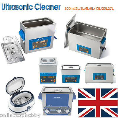 2-3L Stainless Ultrasonic Cleaner Ultra Sonic Bath CD Cleaning Timer Tank UK