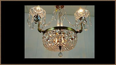 Vintage Italian Brass Bronze Chandelier Basket Superb Crystals Swan Arms WOW!!
