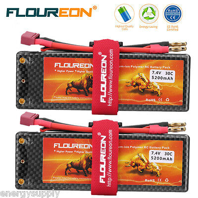 2x 5200mAh 2S 30C 7.4V Lipo RC Battery Dean For RC Evader Car Truck Truggy Drone