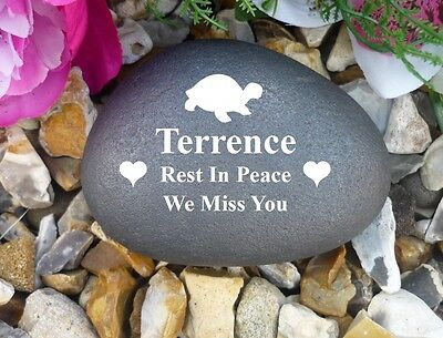 Pet Memorial Pebble (Stone effect) Personalised - Weatherproof - Tortoise/Turtle
