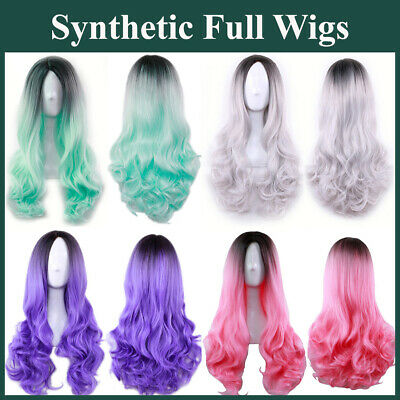 65cm Long Wavy Synthetic Full Wigs with Dark Roots Cosplay Lolita Colour Blend