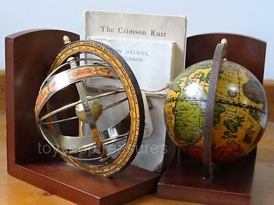 Made in Italy Vintage  Armillary Globe Book Ends Celestial Decor