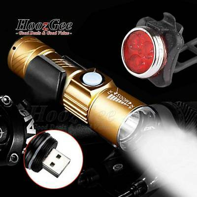 USB Rechargeable MTB Bike Cycle Cycling Q5 LED Front Lights Rear Tail Lamps Set