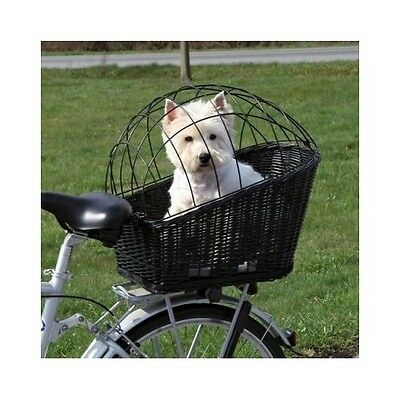 Dog Bicycle Basket Rear Mounted Wicker Mesh Cover Bike Carrier Pet Small Seat