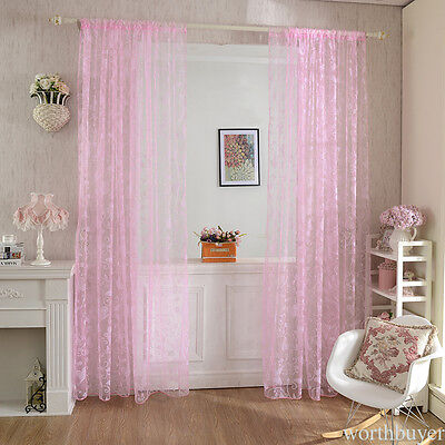 4 Color Butterfly Floral Tulle Window Curtain Voile Drape Sheer Scarf Valance NG
