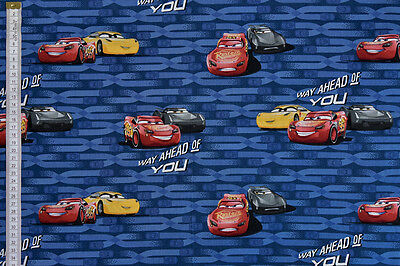 Disney Pixar Cars 3 Fabric - 100% Cotton, McQueen, Storm & Cruz