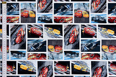 Disney Pixar Cars 3 Racing Fabric - 100% Cotton, McQueen, Storm & Cruz