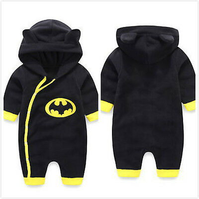 Newborn Boys Clothes Baby Batman Hoodies Infant Romper Bodysuit Jumpsuit Outwear