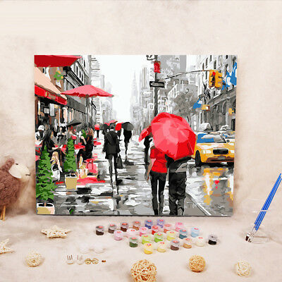 New People Walk in the Rain Scenery Oil Painting By Numbers Wall Art Home Decor
