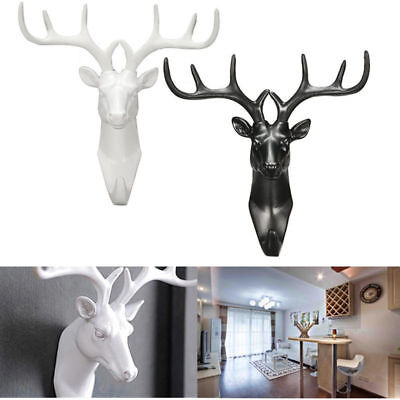 AU Animal Deer Stags Head Hook Hanger Rack Holder Wall Mount Home Room Decor