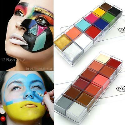 12 Colors Body Paint Art Tattoo Halloween Party Face Painting Beauty Makeup Tool