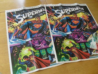 "Vintage Original ""Superman The Movie"" (LOT OF 2) Posters from 1978 by DC Comics"