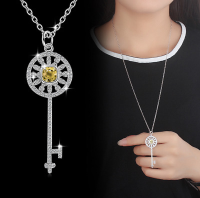 925 Sterling Silver Crystal Key Pendant Chain Necklace Women Fashion Jewelry