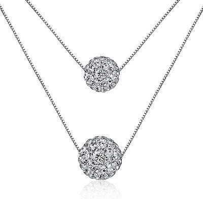 Women's 925 Sterling Silver Double Natural Crystal Ball Pendant Chain Necklace