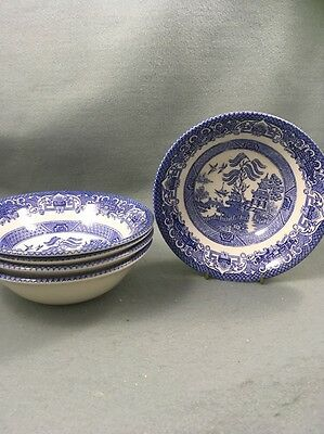 English Ironstone Tableware EIT Blue Willow Dinner Bowls X 5