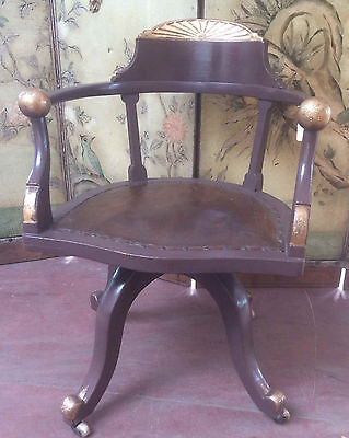 Vintage Swivelling Office Chair, Painted Oak & Leather