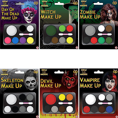 Halloween Face Paint Sets Fancy Dress Instant Face Kit Day Of The Dead Skelton