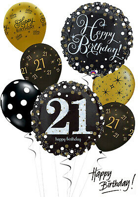 21st Birthday Black And Gold Balloon Bouquet Adult Party Decorations