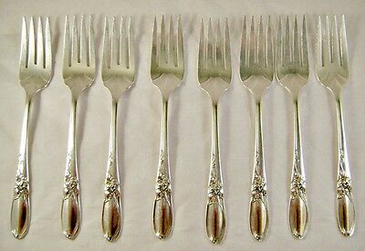 """Community Silver Plate """"White Orchid"""" Pattern Dessert Forks - Ca 1953 - No Monos"""