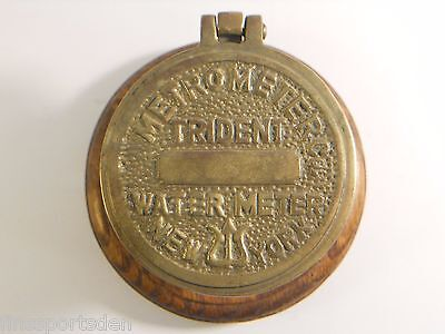 METROMETER CO. NY TRIDENT ADVERTISING WATER METER CASING ~ Paperweight Ink Well
