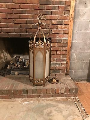 Antique Church Pendant Light Fixture; Gothic Style Hanging Pendant; Vintage