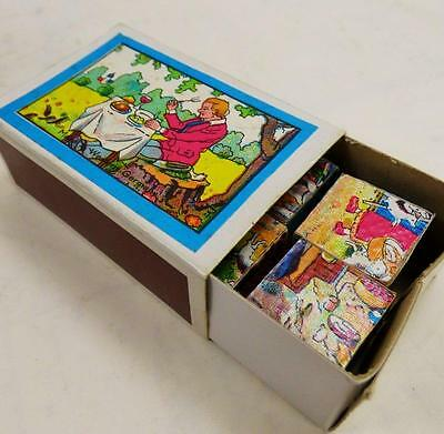West German matchbox puzzle, Vintage toy - 6 wooden cubes plus images