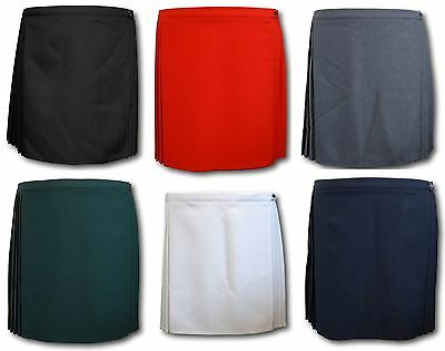 Traditional Wrap Around Pleated Games / P.E. Skirt - Many Colours - Larger Sizes
