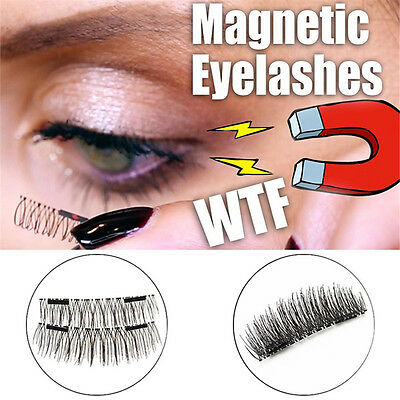 4PCS Magnetic EyeLashes False Magnet Eye Lashes Natural Extensions Reusable 3D
