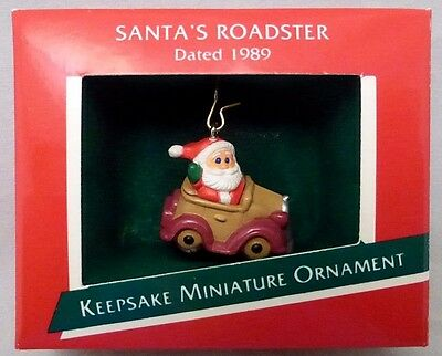 "Hallmark ""Santa's Roadster""  1989  Miniature Keepsake Ornament  MINT"