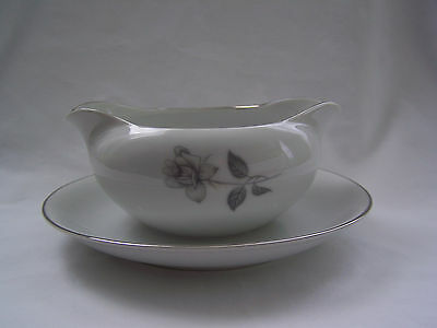 Queens Royal Fine China Japan Shadow Rose Platinum Gravy Boat  Under Plate