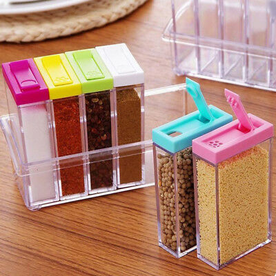 HW- 6in1 Spice Container Jar Condiment Dispenser Salt Seasoning Box Kitchen Reli