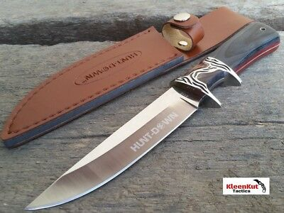"Black Burgundy 10"" COMBAT TACTICAL Hunt Down Fixed Blade Knife Survival Hunting"