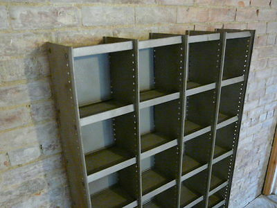 vintage metal industrial pigeon holes stripped polished retail shop fittings