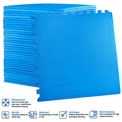 Large BLUE Interlocking EVA Foam Floor Mats Tiles Gym Play Garage 60cm x 60cm