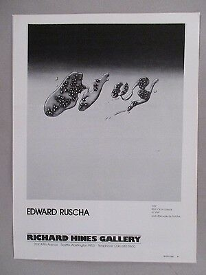Edward Ruscha Art Gallery Exhibit PRINT AD - 1980