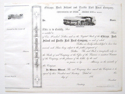 Chicago Rock Island & Pacific RR Stock Cert 1860s