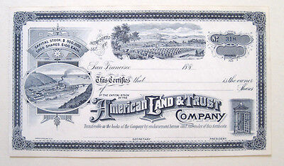 1880s California Land & Bank Stock Certificate Ornate