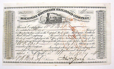 Michigan Southern Railroad Stock 1854